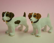 Dolls House Miniature Jack Russell Dogs x2 (Light Brown) (XZ501)