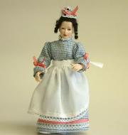Heidi Ott Dolls House Doll, Maid in Blue, White & Pink (X085)