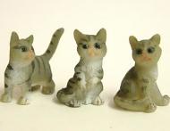 Dolls House Miniature Grey Tabby Kittens x3 (XZ566)