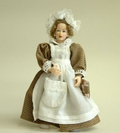 Heidi Ott Dolls House Doll, Maid in Beige/White (X087)