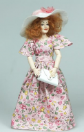 Heidi Ott Dolls House Doll, Red Head Lady in Floral Dress (X089)