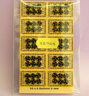 6mm Black Snap Fasteners (Pack of 60), Dolls House Miniature (XZ725)