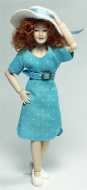 Heidi Ott Dolls House Doll, Lady in a Modern Blue Dress (X093)