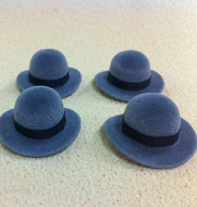 Set of 4 Dolls House dolls Grey Bowler Hats to fit Heidi Ott adults. (XZ780G)