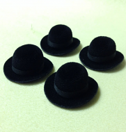 Set of 4 Dolls House dolls Black Bowler Hats to fit Heidi Ott adults. (XZ780S)
