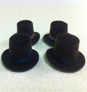 Set of 4 Dolls House dolls Brown Top Hats to fit Heidi Ott adults. (XZ781B)