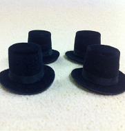 Set of 4 Dolls House dolls Black Top Hats to fit Heidi Ott adults. (XZ781S)
