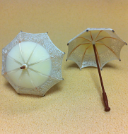 Set of 2 Dollhouse Dolls  Miniature Umbrellas (XZ789-W)