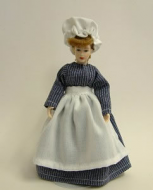 Heidi Ott Dolls House Doll, Maid with Blue & White Dress (X020)