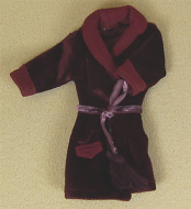 Mens Burgandy Dressing Gown, Dolls House Miniature (XZ917)