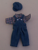 Child's Blue Dungarees Outfit, Dolls House Miniature (XZ951)
