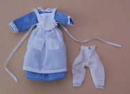 Blue Striped Maids Dress, Dolls House Miniature (XZ968)
