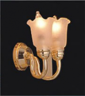 Dolls House Double Wall Light with Frosted Tulip Shade (YL2014)