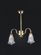 Dolls House Chandelier (2-Down-Arm Fluted Frosted Shade) (YL6003)