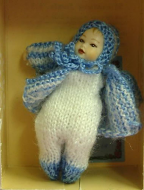Heidi Ott Dolls House Doll, Baby in a Blue Knitted Outfit (XB019)