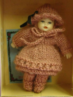 Heidi Ott Dolls House Doll, Baby in a Pink Knitted Outfit (XB020)