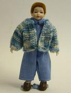 Heidi Ott Dolls House Doll, Young Boy in Blue Cardigan (XC012)